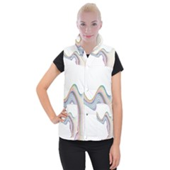 Abstract Ribbon Background Women s Button Up Puffer Vest