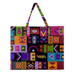 Abstract A Colorful Modern Illustration Zipper Large Tote Bag by Simbadda