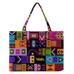 Abstract A Colorful Modern Illustration Medium Zipper Tote Bag by Simbadda