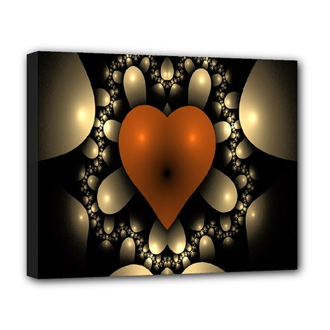 Fractal Of A Red Heart Surrounded By Beige Ball Deluxe Canvas 20  X 16   by Simbadda