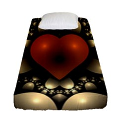Fractal Of A Red Heart Surrounded By Beige Ball Fitted Sheet (single Size) by Simbadda