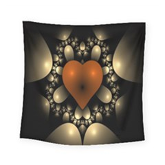 Fractal Of A Red Heart Surrounded By Beige Ball Square Tapestry (small)