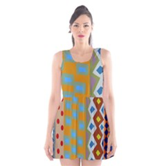 Abstract A Colorful Modern Illustration Scoop Neck Skater Dress by Simbadda