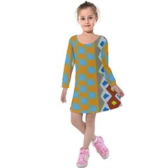 Abstract A Colorful Modern Illustration Kids  Long Sleeve Velvet Dress by Simbadda