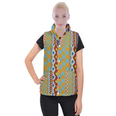Abstract A Colorful Modern Illustration Women s Button Up Puffer Vest by Simbadda