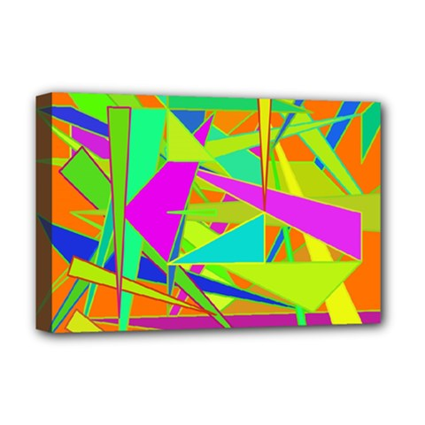 Background With Colorful Triangles Deluxe Canvas 18  X 12   by Simbadda