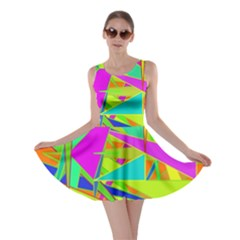 Background With Colorful Triangles Skater Dress