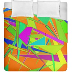 Background With Colorful Triangles Duvet Cover Double Side (king Size) by Simbadda