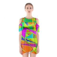 Background With Colorful Triangles Shoulder Cutout One Piece