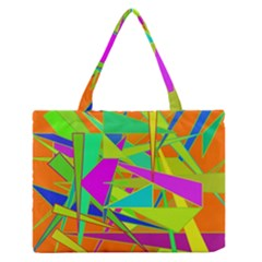 Background With Colorful Triangles Medium Zipper Tote Bag by Simbadda
