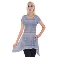 Grid Squares And Rectangles Mirror Images Colors Short Sleeve Side Drop Tunic by Simbadda