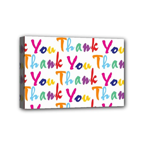 Wallpaper With The Words Thank You In Colorful Letters Mini Canvas 6  X 4  by Simbadda