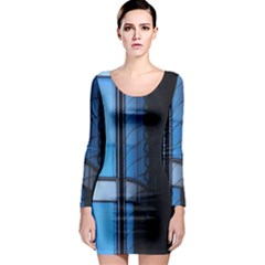 Modern Office Window Architecture Detail Long Sleeve Bodycon Dress by Simbadda