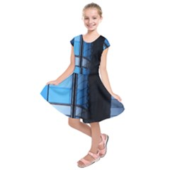 Modern Office Window Architecture Detail Kids  Short Sleeve Dress by Simbadda