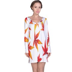Colorful Autumn Leaves On White Background Long Sleeve Nightdress by Simbadda