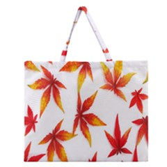 Colorful Autumn Leaves On White Background Zipper Large Tote Bag