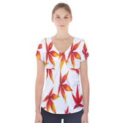 Colorful Autumn Leaves On White Background Short Sleeve Front Detail Top