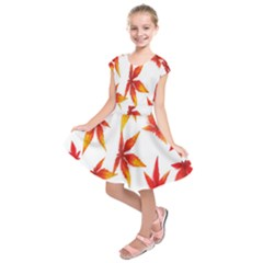 Colorful Autumn Leaves On White Background Kids  Short Sleeve Dress by Simbadda