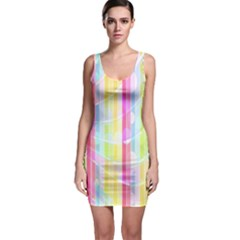 Colorful Abstract Stripes Circles And Waves Wallpaper Background Sleeveless Bodycon Dress