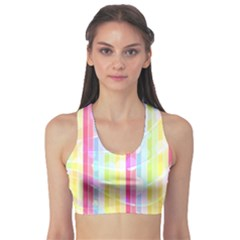 Colorful Abstract Stripes Circles And Waves Wallpaper Background Sports Bra by Simbadda