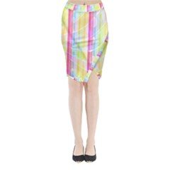 Colorful Abstract Stripes Circles And Waves Wallpaper Background Midi Wrap Pencil Skirt