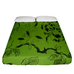 Abstract Green Background Natural Motive Fitted Sheet (california King Size) by Simbadda