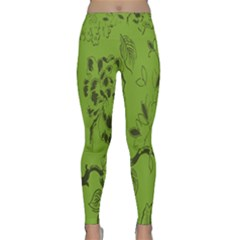 Abstract Green Background Natural Motive Classic Yoga Leggings by Simbadda