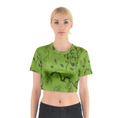 Abstract Green Background Natural Motive Cotton Crop Top