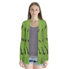Abstract Green Background Natural Motive Cardigans