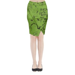 Abstract Green Background Natural Motive Midi Wrap Pencil Skirt