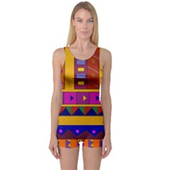 Abstract A Colorful Modern Illustration One Piece Boyleg Swimsuit
