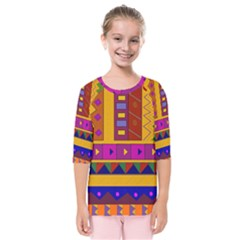 Abstract A Colorful Modern Illustration Kids  Quarter Sleeve Raglan Tee