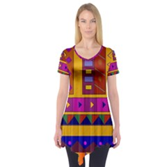 Abstract A Colorful Modern Illustration Short Sleeve Tunic