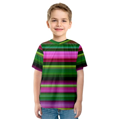 Multi Colored Stripes Background Wallpaper Kids  Sport Mesh Tee by Simbadda