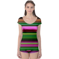 Multi Colored Stripes Background Wallpaper Boyleg Leotard  by Simbadda