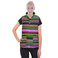 Multi Colored Stripes Background Wallpaper Women s Button Up Puffer Vest by Simbadda
