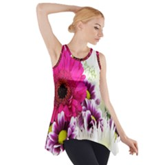 Pink Purple And White Flower Bouquet Side Drop Tank Tunic by Simbadda