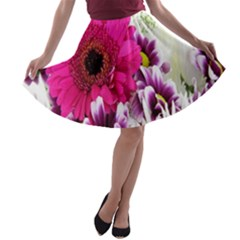 Pink Purple And White Flower Bouquet A Line Skater Skirt