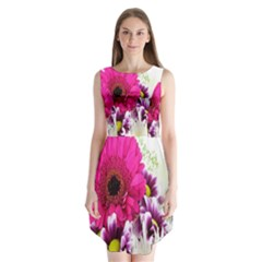 Pink Purple And White Flower Bouquet Sleeveless Chiffon Dress