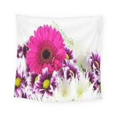 Pink Purple And White Flower Bouquet Square Tapestry (small) by Simbadda
