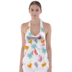 Butterfly Pattern Vector Art Wallpaper Babydoll Tankini Top