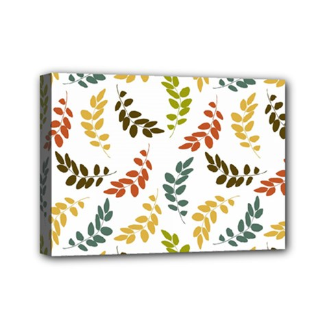 Colorful Leaves Seamless Wallpaper Pattern Background Mini Canvas 7  X 5