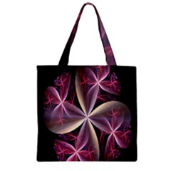 Pink And Cream Fractal Image Of Flower With Kisses Zipper Grocery Tote Bag by Simbadda