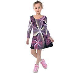 Pink And Cream Fractal Image Of Flower With Kisses Kids  Long Sleeve Velvet Dress by Simbadda