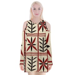 Abstract A Colorful Modern Illustration Pattern Velvet Long Sleeve Shoulder Cutout Dress
