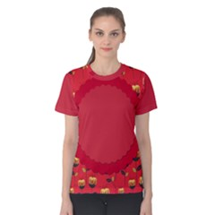 Floral Roses Pattern Background Seamless Women s Cotton Tee