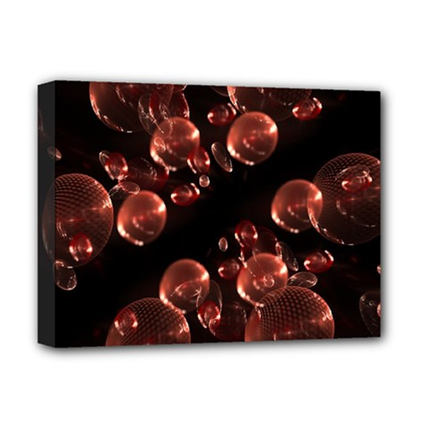 Fractal Chocolate Balls On Black Background Deluxe Canvas 16  X 12   by Simbadda