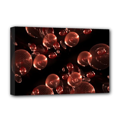 Fractal Chocolate Balls On Black Background Deluxe Canvas 18  X 12   by Simbadda