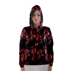 Fractal Chocolate Balls On Black Background Hooded Wind Breaker (women) by Simbadda