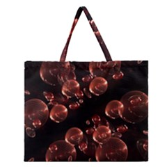 Fractal Chocolate Balls On Black Background Zipper Large Tote Bag by Simbadda
